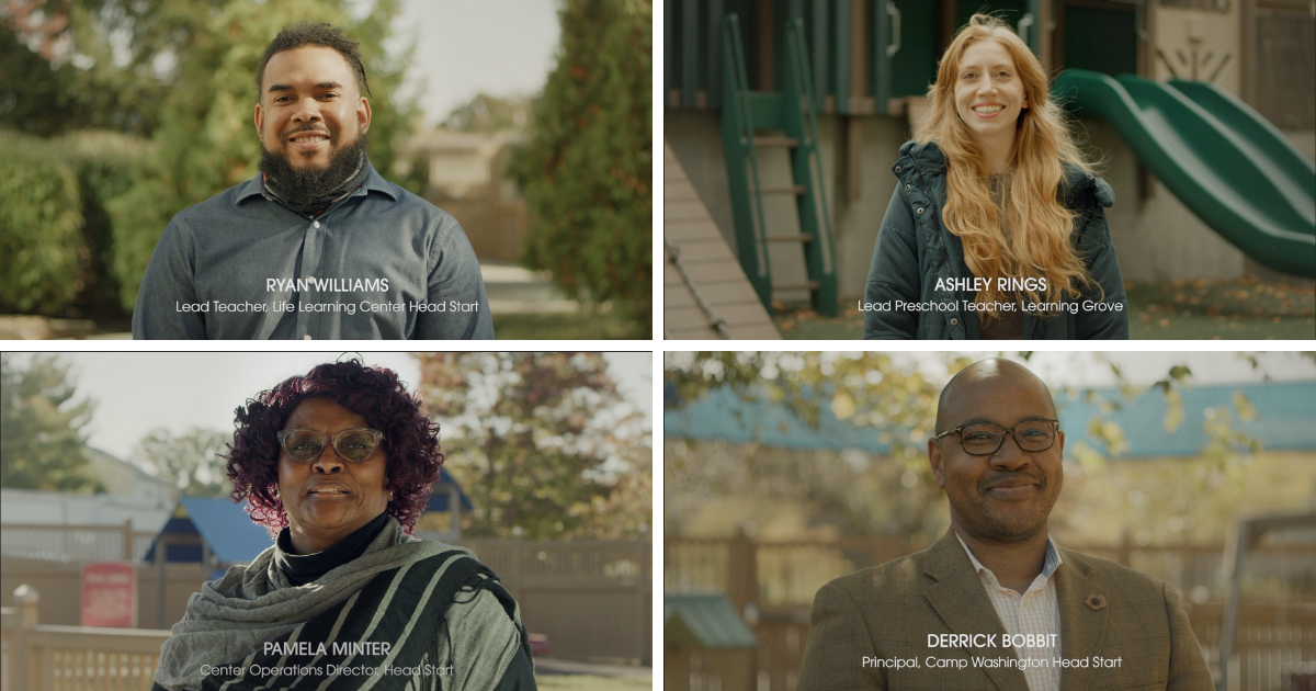 Four images of interview subjects shows the diversity within a video